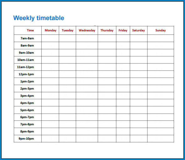 Weekly Timetable Template Example