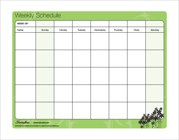 Weekly Timetable Template Sample