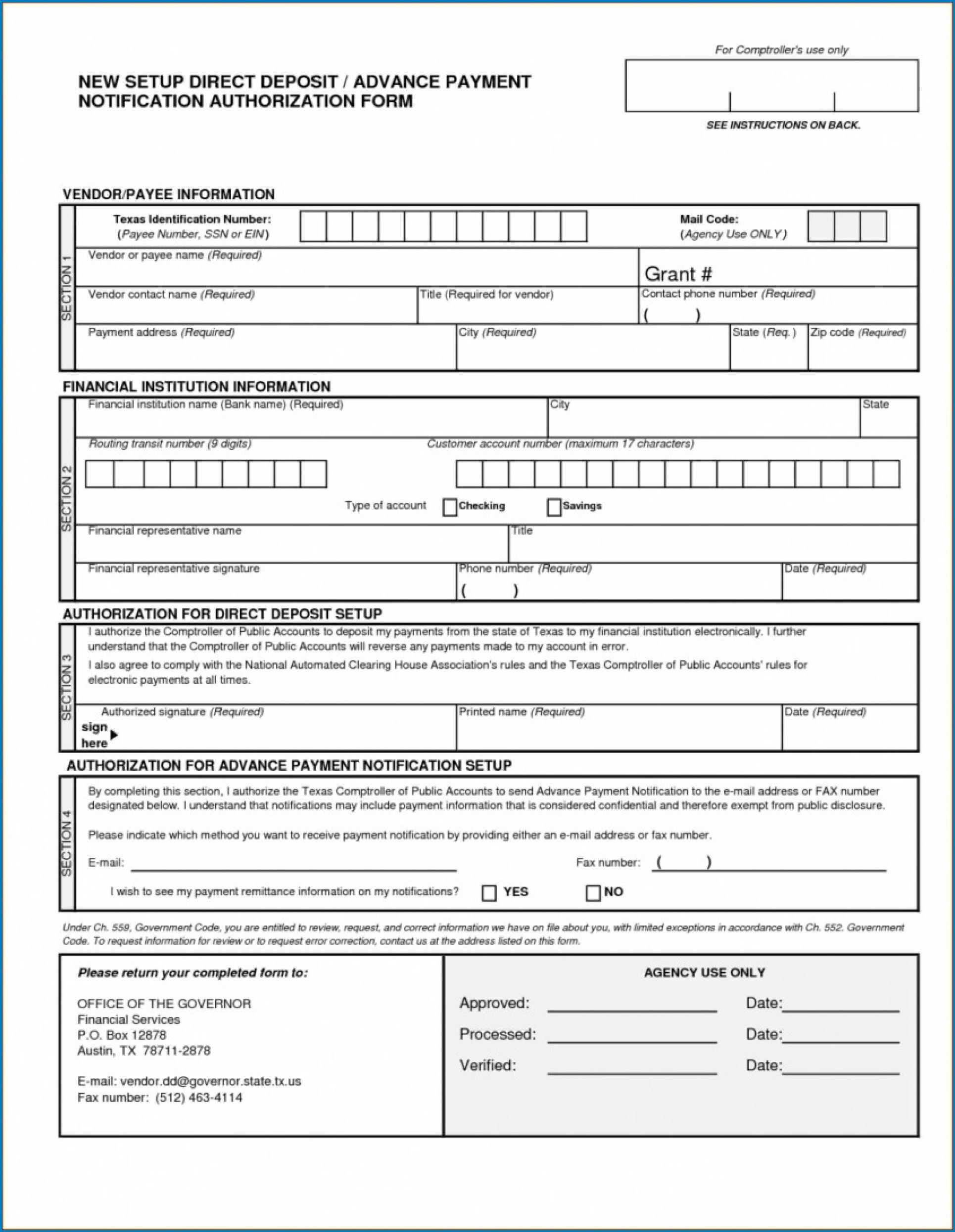 Wells Fargo Direct Deposit Form For Work Sample