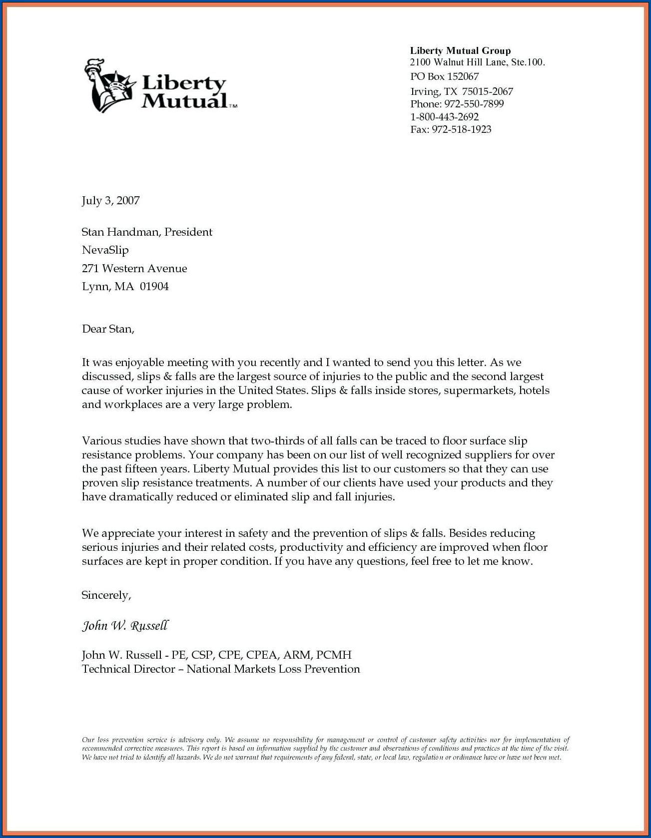 Word Business Letter Template Sample