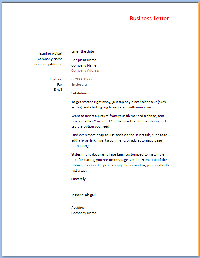 Official Letter Business Letter Template Word from www.templateral.com