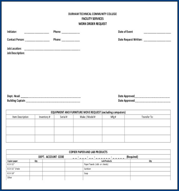 Work Order Form Template Example
