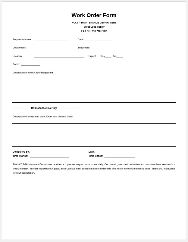 Free Printable Work Order Form Template Templateral