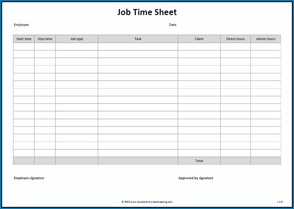 Work Timesheet Template Example