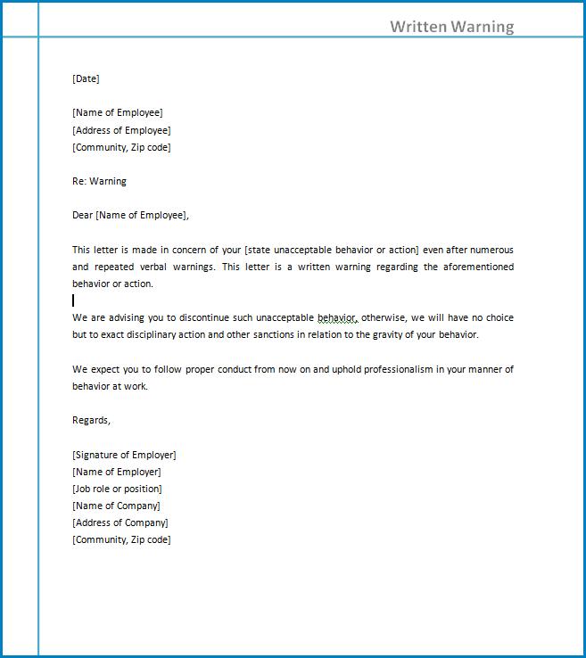 Free Printable Written Warning Template