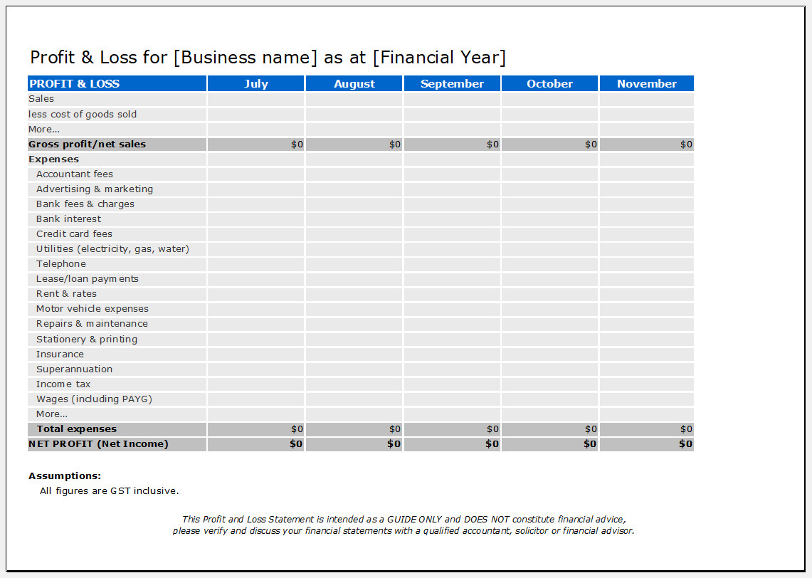 Free Printable Year To Date Profit And Loss Statement