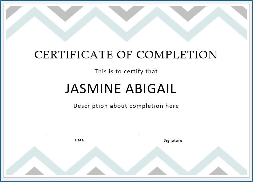 It's just a photo of Printable Certificate of Completion within sample